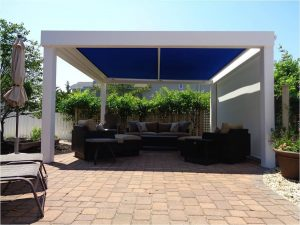The custom awning over a lounging area is called a sunplus
